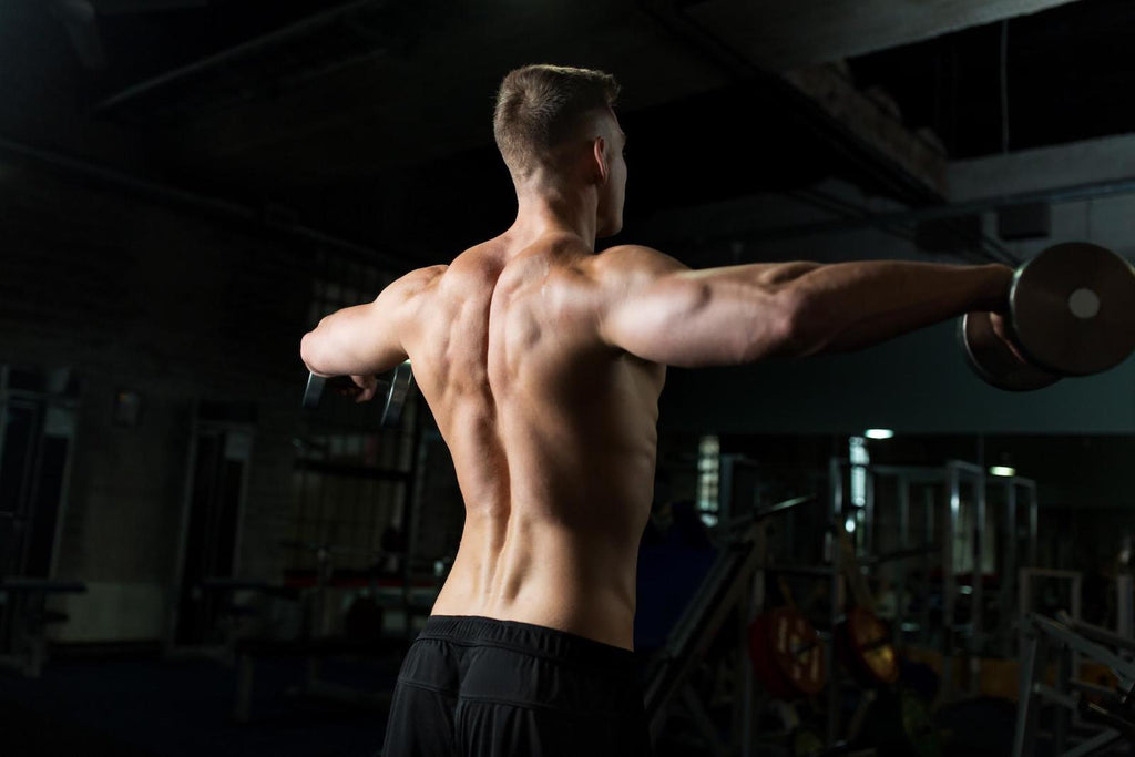 Man strengthen upper body while lifting dumbbells