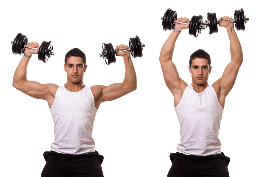 Man doing dumbbell shoulder press exercise