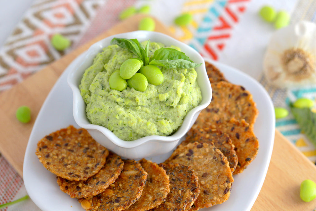 High protein low carb snacks: Edamame hummus