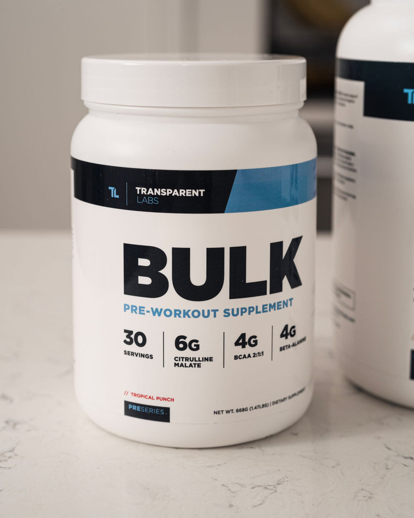 Transparent Labs BULK Pre-workout Supplement resting on counter