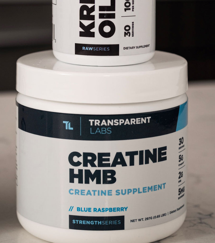 Supplement for muscular endurance: Creatine HMB rests on counter