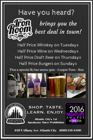 half price whiskey, wine, draft beer, burgers, and discounted bar bites menu
