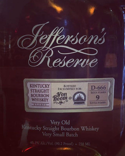 Jefferson Very Old Small Batch Iron Room /Atlantic City Bottle Company Barrel Selection