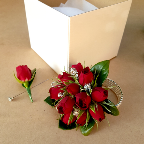 Deluxe Red Rose Wrist Corsage & Buttonhole Set