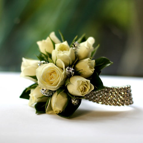 Deluxe White Rose Wrist Corsage