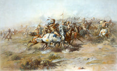 The Custer Fight by Charles Marion Russell. Lithograph. Shows the Battle of Little Bighorn, from the Indian side - 1903