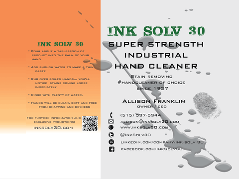INK SOLV 30 - Super Strength Industrial Hand Cleaner since 1937