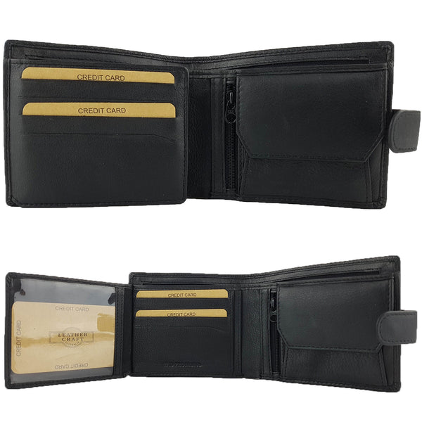 Leather Craft R001H RFID Protected Full Grain Bi-Fold Tabbed Leather Wallet