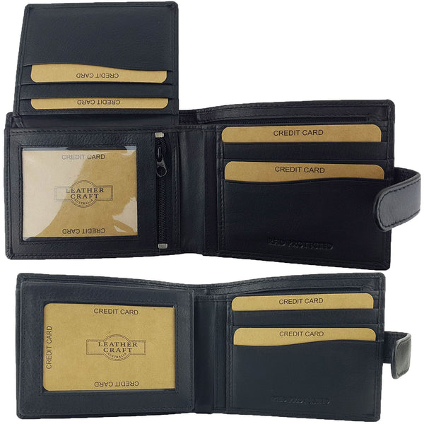 Leather Craft R002 RFID Protected Full Grain Bi-Fold Tabbed Leather Wallet