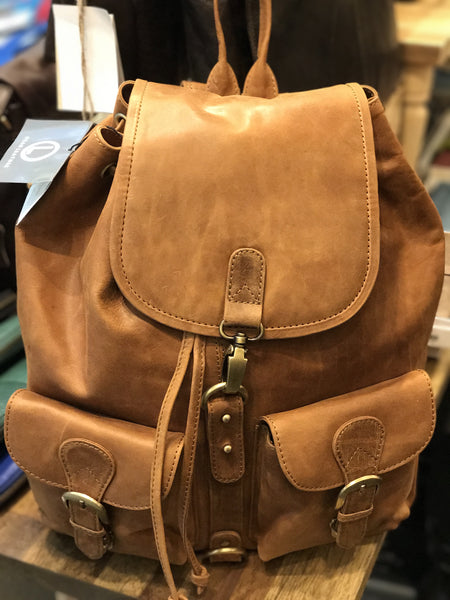 Oran Leather BP-101 Double Pocket Leather Backpack