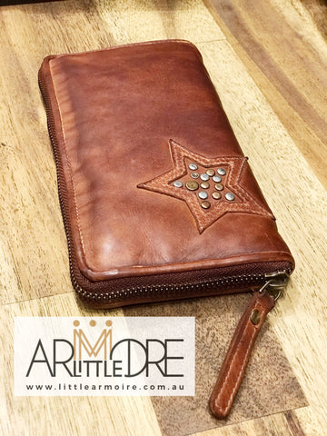 Rugged Hide RH-25 Lillian Zipped around Soft Leather Wallet with Studded Star Design