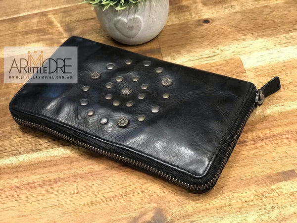 Rugged Hide Eden RH-14188 Ladies Soft Leather Zipped Around Wallet with Stud Design - Little Armoire - Online Leather Goods Store Australia