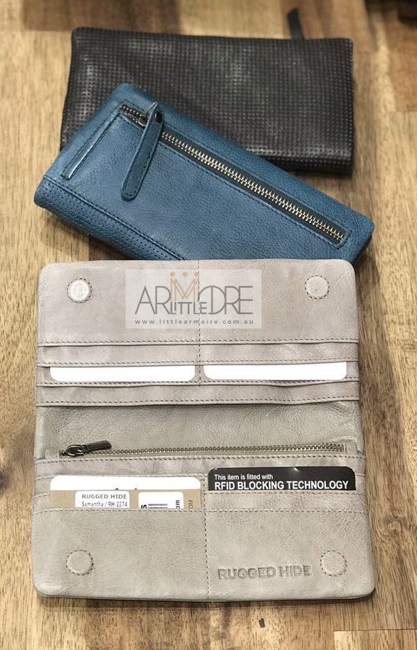 Rugged Hide RH-2274 Samantha Soft Leather Perforated Detail wallet. - Little Armoire - Online Leather Goods Store Australia