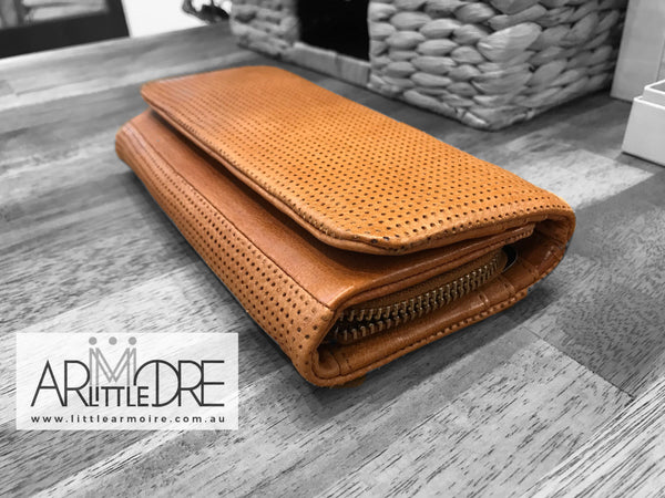 Rugged Hide RH-2277 Simmone Soft Leather Perforated Detail wallet. - Little Armoire - Online Leather Goods Store Australia