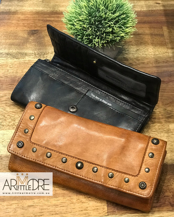 Rugged Hide Sable RH-14986 Stud Design Ladies Leather Wallet