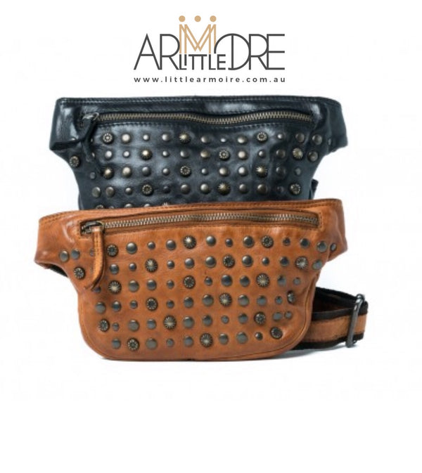 Rugged Hide Miami RH-36764 Ladies Leather Bum / Waist Bag with Stud Design - Little Armoire - Online Leather Goods Store Australia