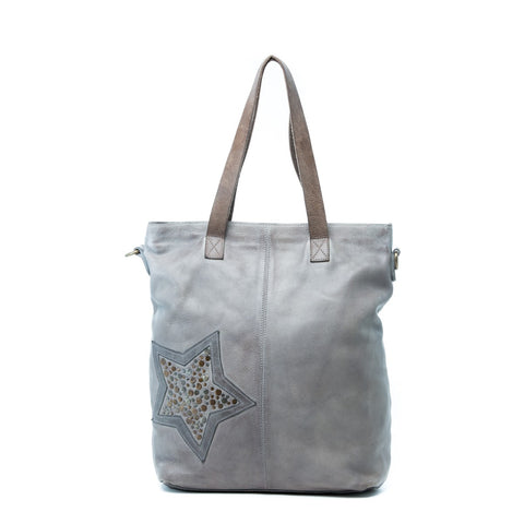 Rugged Hide RH-76 Maisie Studded Star Design Leather Tote Bag