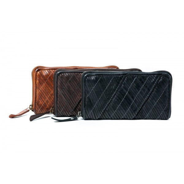 Rugged Hide Kendra RH-1916 Diagonal Cut Design Ladies Zip Around Leather Wallet