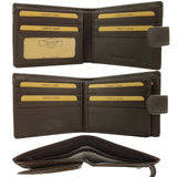 Leather Craft R002W RFID Protected Full Grain Bi-Fold Tabbed Leather Wallet