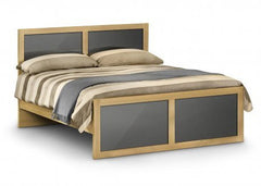 JULIAN BOWEN Strada Light Oak/Grey Wooden Bed Frame