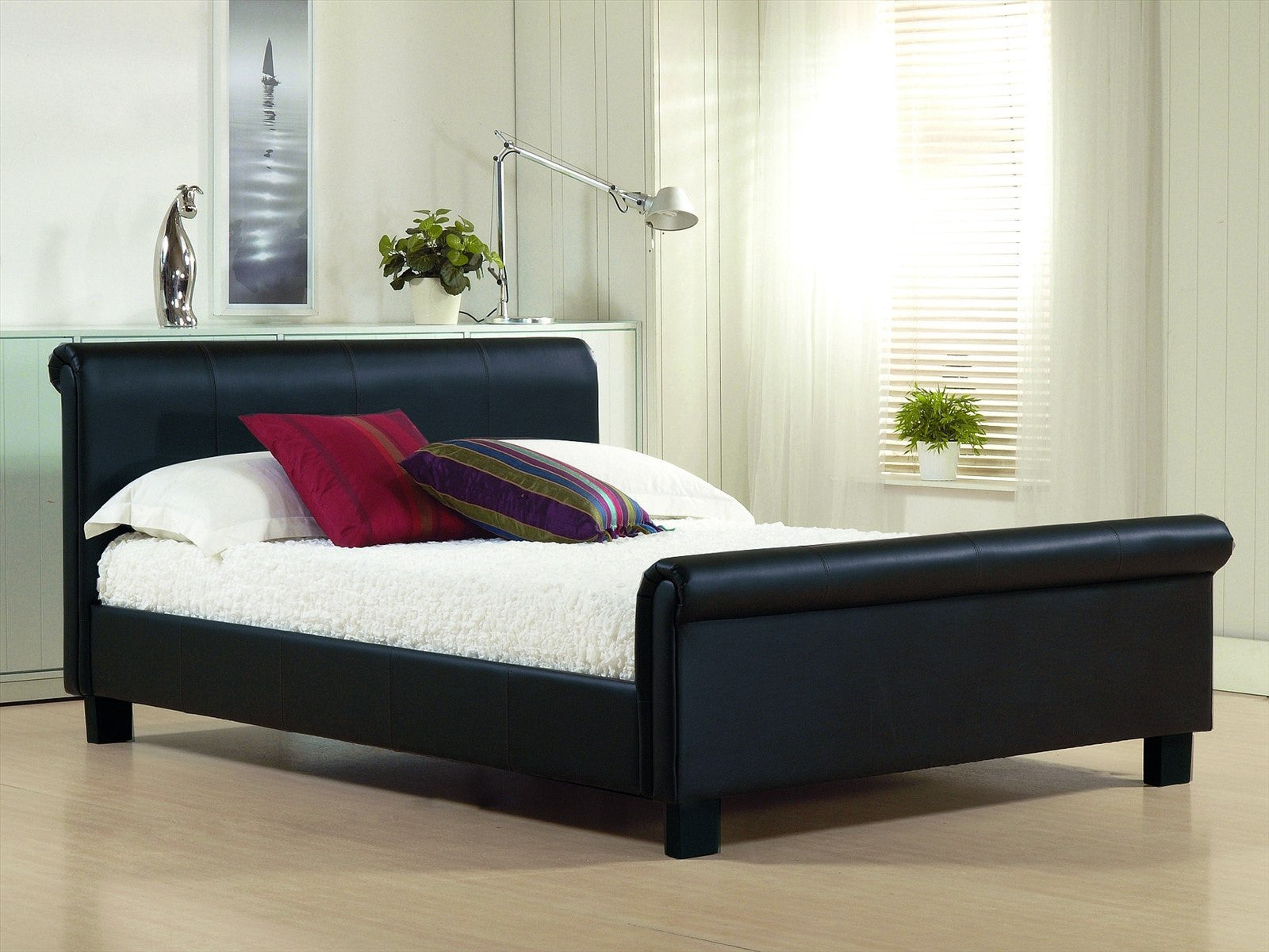 TIME LIVING Aurora Black Faux Leather Bed