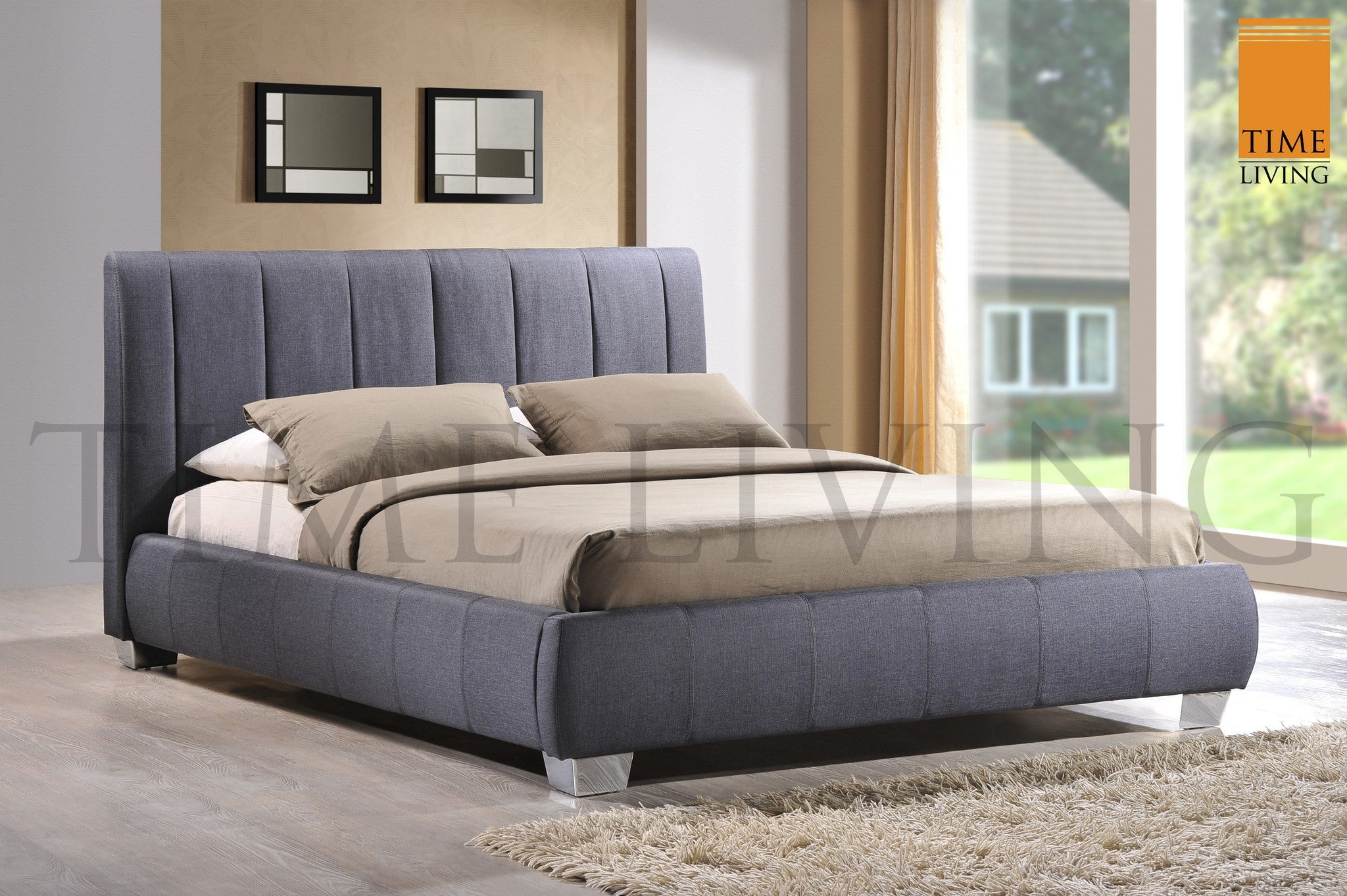 TIME LIVING Braunston Grey Fabric Bed Frame Hamseys