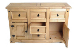 BIRLEA Corona 2 Door 5 Drawer Waxed Pine Sideboard