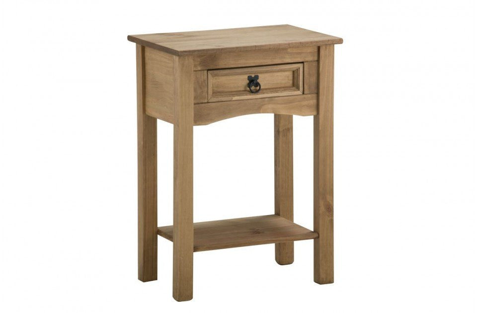 BIRLEA Corona 1 Drawer With Shelf Waxed Pine Console Table