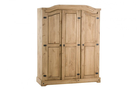 BIRLEA Corona 3 Door Wardrobe Waxed Pine