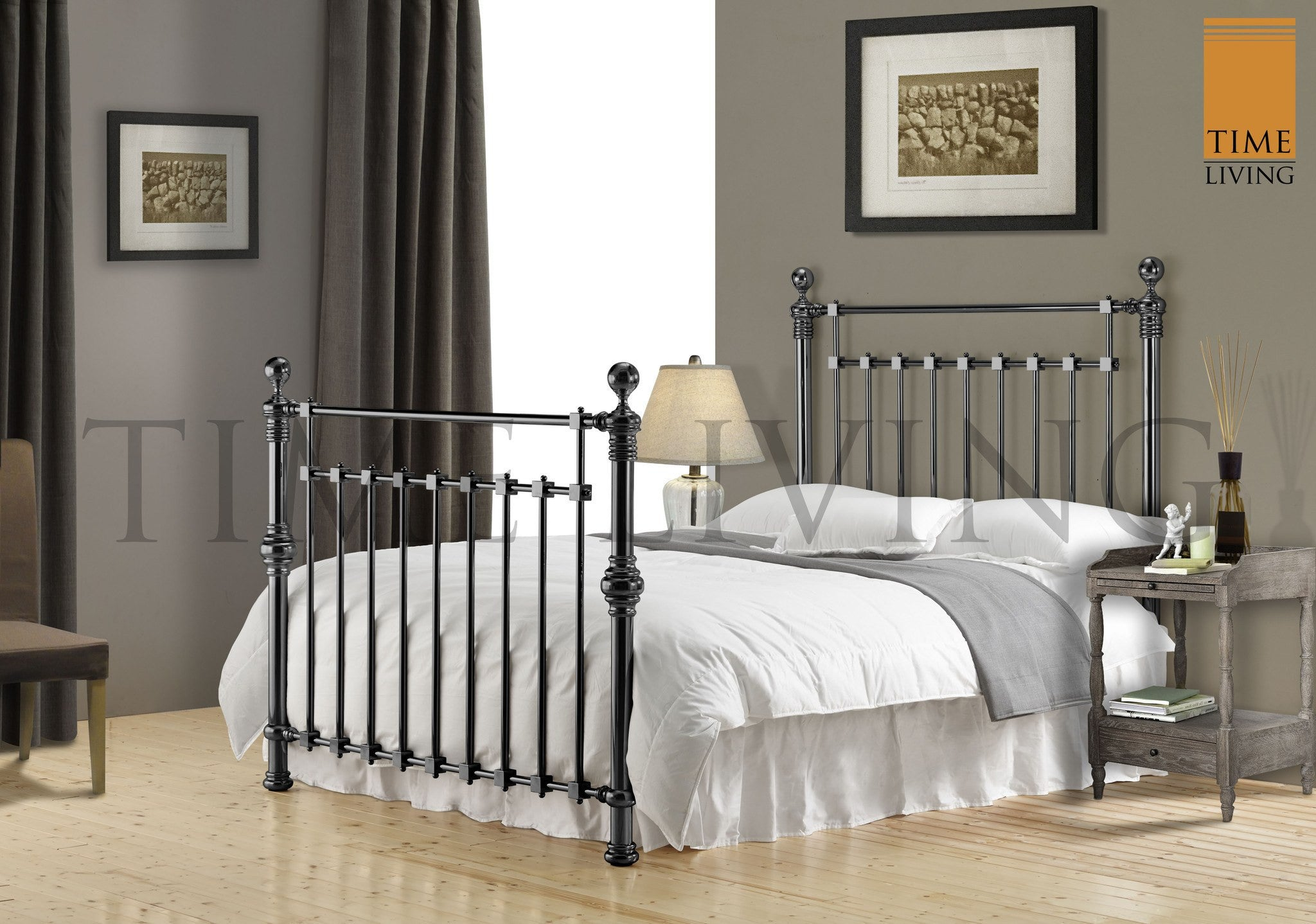 TIME LIVING Edward Black Nickel Metal Bed Frame