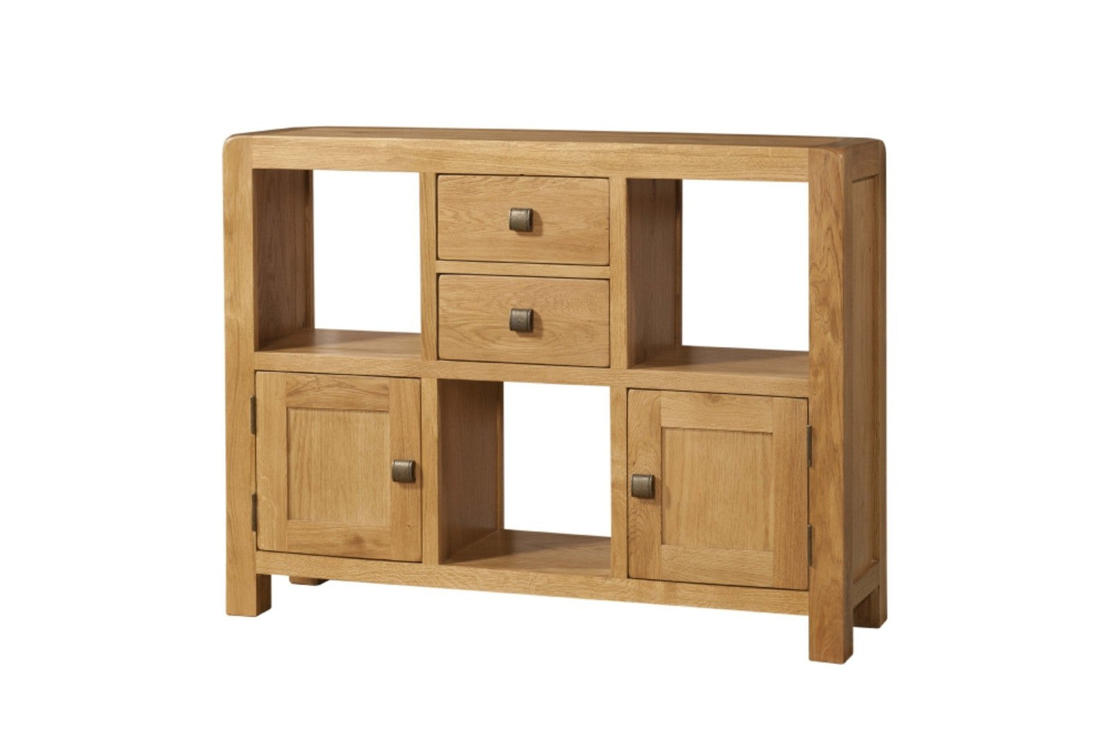 Avon Oak Low Display Unit With 2 Doors And 2 Drawers