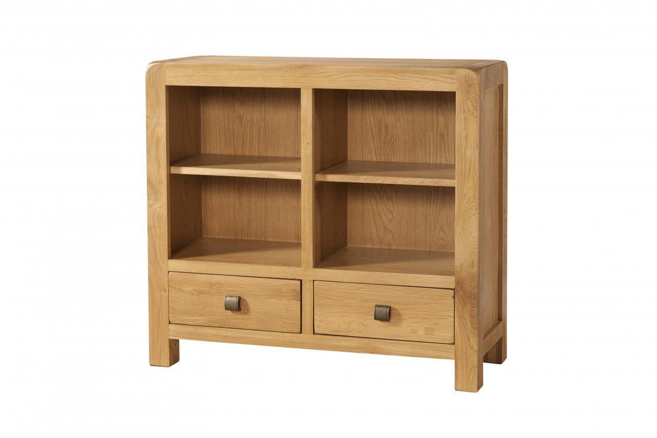 Avon Oak Low Bookcase With 2 Drawer