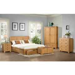 Avon Oak Double Bed With 2 Storage Drawer