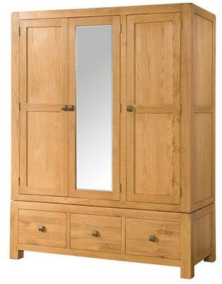 Avon Oak Triple Wardrobe With 3 Drawers