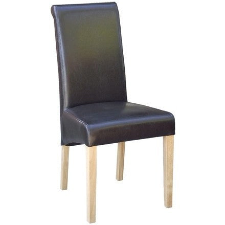 New Oak Brown Faux Leather Dining Chair