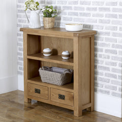 BIRLEA Malvern 2 Drawer Oak Small Bookcase