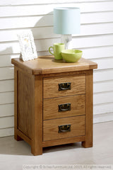 BIRLEA Malvern 3 Drawer Oak Bedside