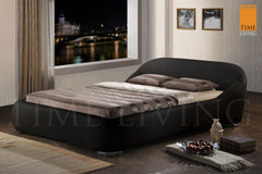 TIME LIVING Manhattan Black Faux Leather Bed Frame