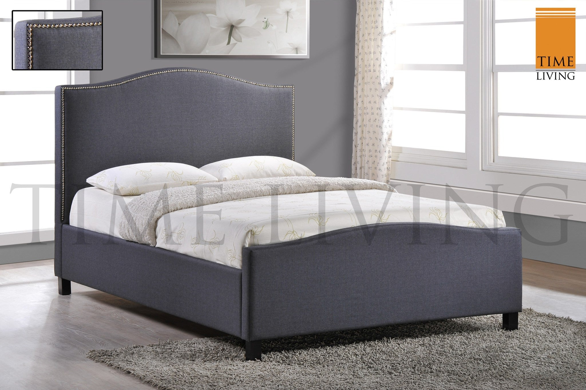 TIME LIVING Tuxford Grey Fabric Bed Frame