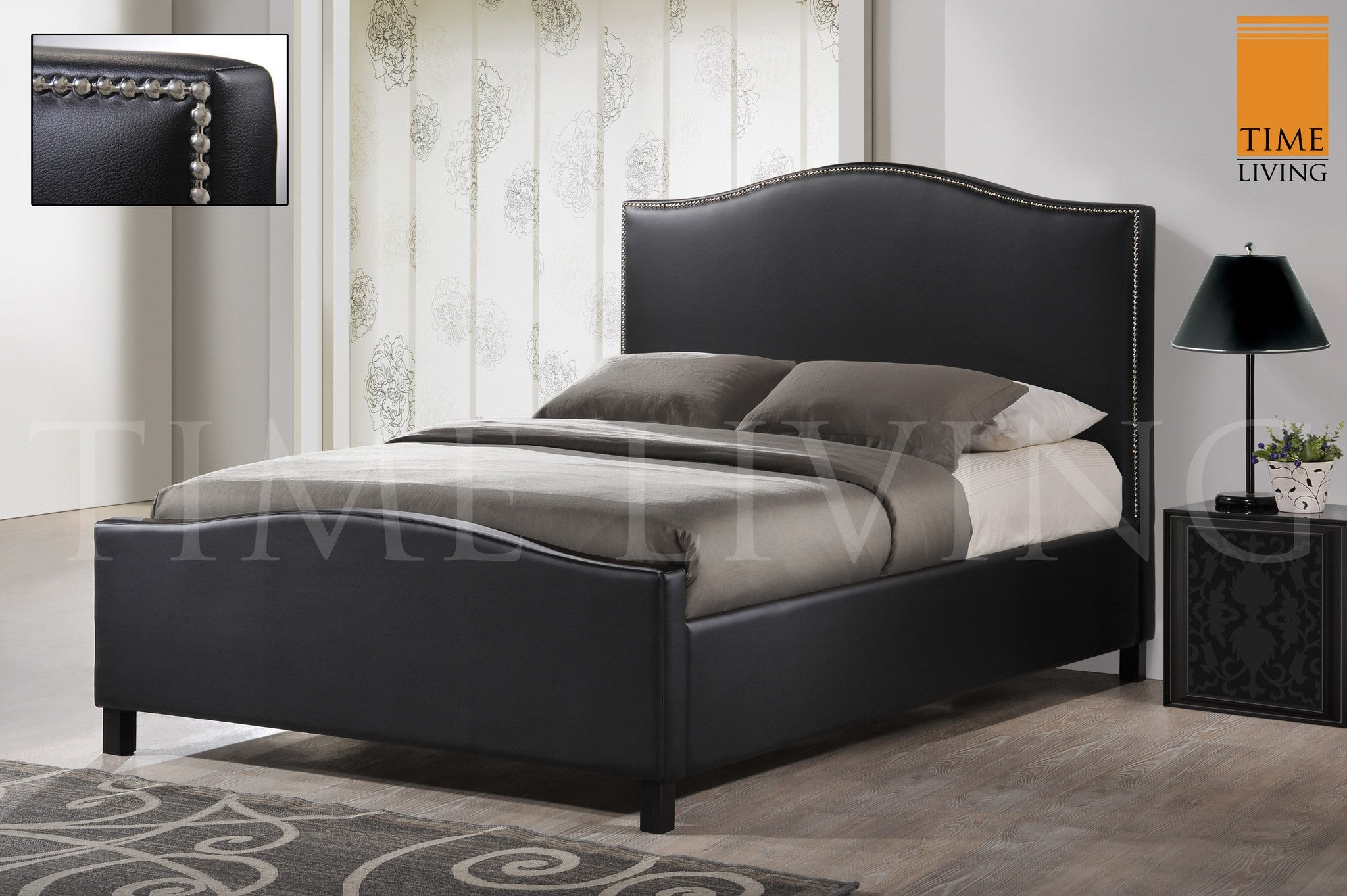 TIME LIVING Tuxford Black Faux Leather Bed Frame