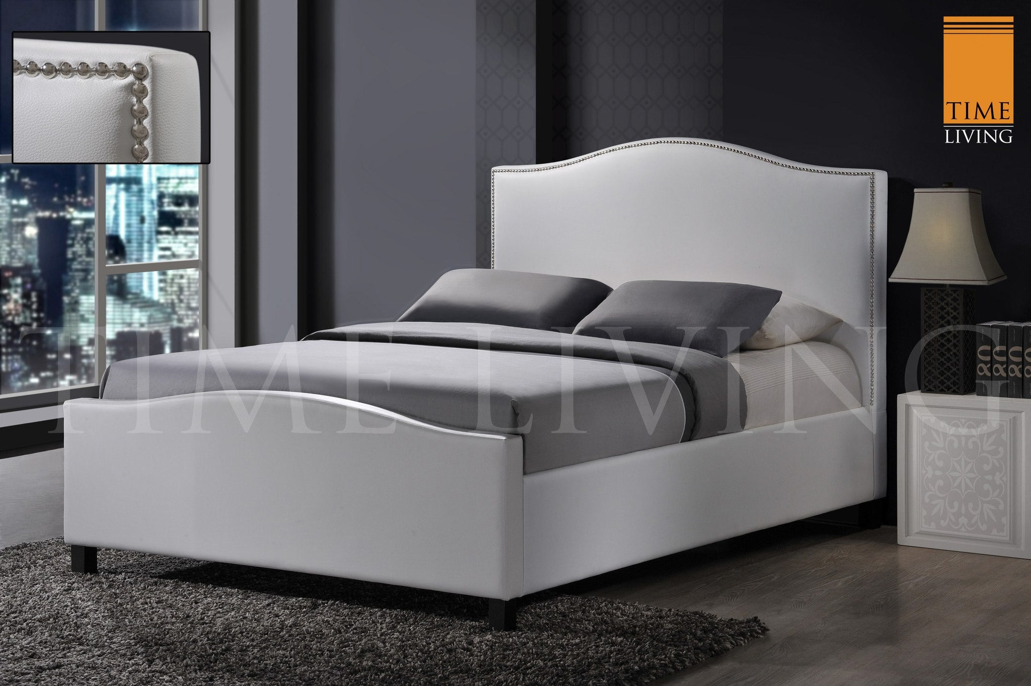 TIME LIVING Tuxford White Faux Leather Bed Frame