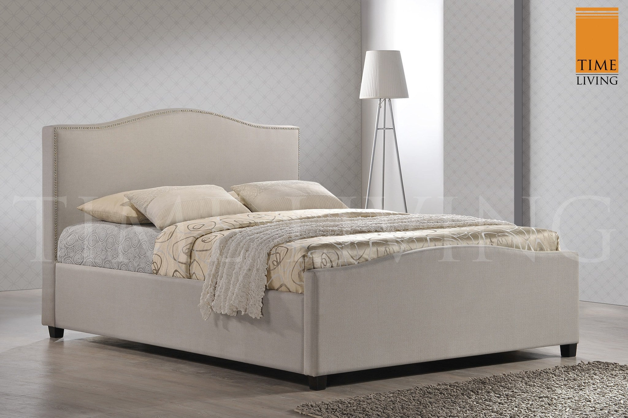 TIME LIVING Tuxford Sand Fabric Bed Frame
