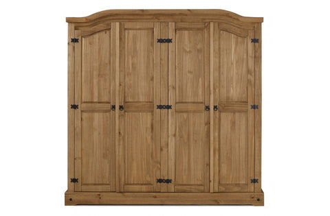 BIRLEA Corona 4 Door Wardrobe Waxed Pine