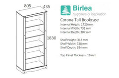 BIRLEA Corona Tall Waxed Pine Bookcase