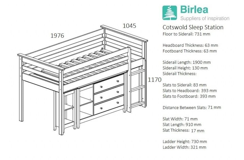Birlea Cotswold Midi Sleeper likewise Kingstudio also  on high sleeper with sofa bed pull out desk