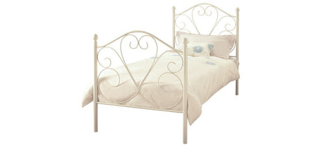 SERENE Isabelle White Gloss Metal Bed