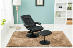 BIRLEA Memphis Swivel Black Chair With Footstool