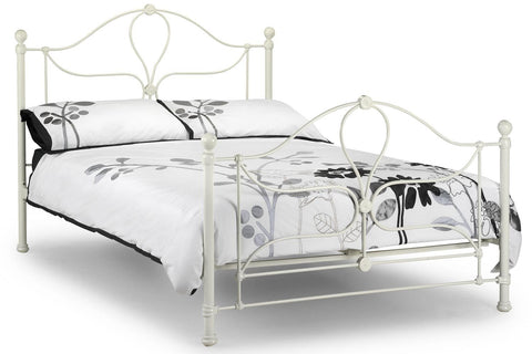 JULIAN BOWEN Paris Stone White Metal Bed Frame