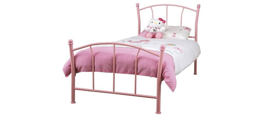SERENE Penny Pink Gloss Metal Bed