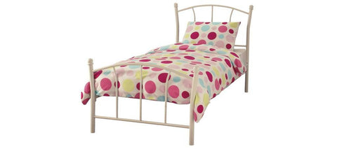 SERENE Penny White Gloss Metal Bed